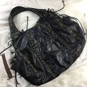 Kooba Black Distressed Leather Hobo bow satchel